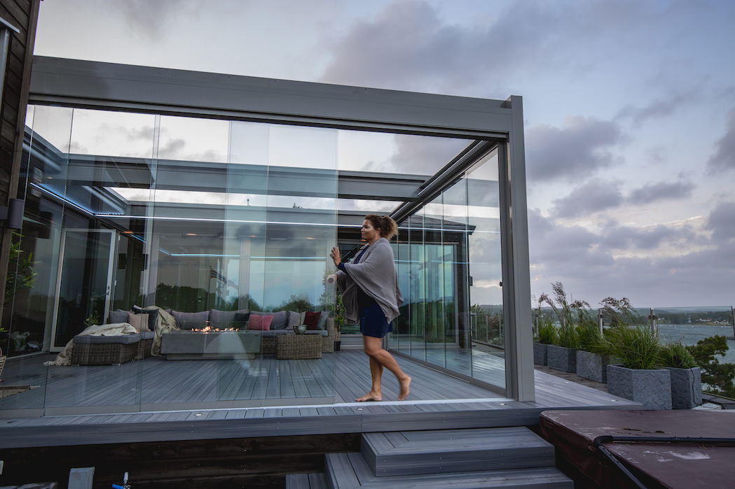 skyveglass terrasse